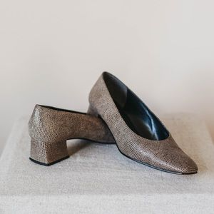 Vintage 90s Abstract Suede Square-toe Pumps